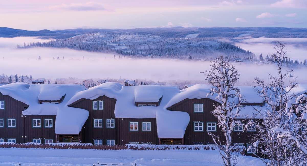 Hytter på Beitostølen om vinteren